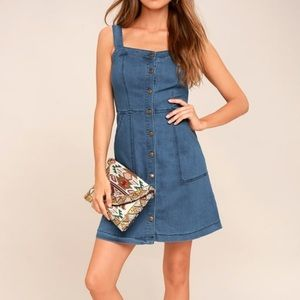 NWT LULUS Best Life Medium Wash Denim Dress Small